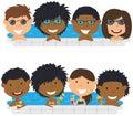 Young multiracial teens having fun in outdoor swimming pool.