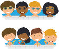 Young multiracial teens having fun in outdoor swimming pool. Royalty Free Stock Photo