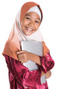 Young muslim girl with laptop ii asian over white background Stock Photo