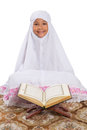 Young Muslim Girl Reading Al Quran III Royalty Free Stock Photo