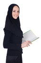 Young muslim student with books on white Royalty Free Stock Photos
