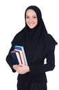 Young muslim student with books on white Stock Image