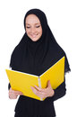Young muslim student with books on white Stock Photos