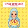Muslim woman holding a plate of dessert