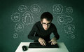 Young nerd hacker with virus and hacking thoughts on green background Royalty Free Stock Images