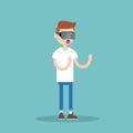 Young nerd teenage boy wearing virtual reality glasses / flat ed Royalty Free Stock Photo