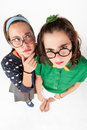 Young nerdy girls Royalty Free Stock Photo