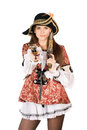Young nice woman guns dressed as pirates Stock Photo