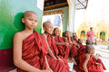 Young novice monks old bagan myanmar oct group of unidentified sitting down at shwedagon pagoda temple myanmar on october of the Royalty Free Stock Images