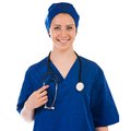 Young nurse full length portrait isolated Royalty Free Stock Photo