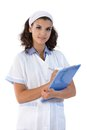 Young nurse with papers holding looking at camera Stock Photos