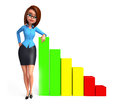 Young office girl with colorful stairs d rendered illustration of Royalty Free Stock Images