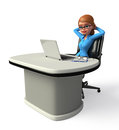 Young office girl with laptop d rendered illustration of Stock Images