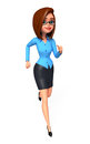 Young office girl is running d rendered illustration of Royalty Free Stock Photo