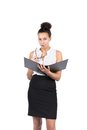 Young office worker holds a file cut out image of beautiful who an opened and glasses Royalty Free Stock Image