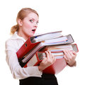 Young overworked business woman holding stack folders documents and paperwork businesswoman of busy working in office Royalty Free Stock Photos