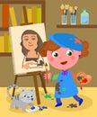 Young painter studio vector