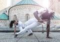 Young pair capoeira partnership spectacular sport Stock Photo