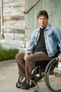 Young paralyzed man Stock Images