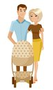 Young parents with baby stoller. Vector Royalty Free Stock Photo