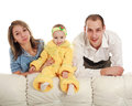 Young parents baby studio white background Stock Images