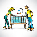 Young parents next to baby s crib the Royalty Free Stock Images