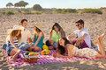 Young party people having enjoyable picnic on the beach fun during at with healthy fruits and drinks Stock Photography