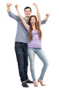 Young people with arms raised over white background Stock Photos