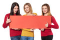 Young people with banner Royalty Free Stock Photo