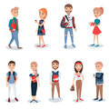 Young people in casual clothes standing set. Business people characters vector illustrations