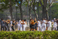 Young people dancing in a park in havanna cuba february on movie take Royalty Free Stock Photo