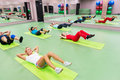 Young people doing exercises in the gym on september moscow russia are increasingly visiting gyms Royalty Free Stock Image