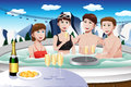 Young people enjoying jacuzzi a vector illustration of in a ski resort during winter Stock Photography