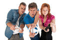 Young people gaming Stock Images