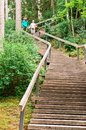 Young people go down the stairs, a long wooden staircase in the woods Royalty Free Stock Photo
