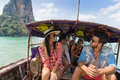 Young People Group Tourist Sail Long Tail Thailand Boat Ocean Friends Sea Vacation Travel Trip
