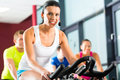 Young people group women men doing sport spinning gym fitness Royalty Free Stock Photo