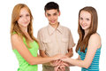 Young people holding hands school children Royalty Free Stock Photo