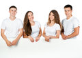 Young people out white board Royalty Free Stock Images