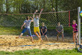 Young people playing volley unidentified play ball in emmeringer badesee park on april in emmering germany Stock Photos