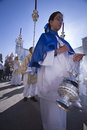 Young people in procession with incense burners in Holy week Royalty Free Stock Photo