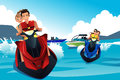 Young people riding jet ski a vector illustration of in the summer Royalty Free Stock Photos