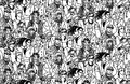 Young people seamless pattern group monochrome Royalty Free Stock Photo