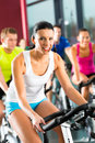 Young people spinning in the gym group of women and men doing sport for fitness Royalty Free Stock Photography