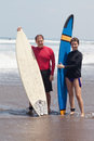 Young people with surfboards Royalty Free Stock Photography