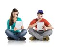 Young people with tablets beautiful tablet in studio Royalty Free Stock Photography