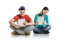 Young people with tablets beautiful tablet in studio Royalty Free Stock Images