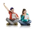 Young people with tablets beautiful tablet in studio Royalty Free Stock Photo