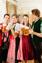 Young people in traditional Bavarian Tracht Royalty Free Stock Photo