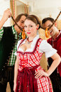Young people in traditional Bavarian Tracht Royalty Free Stock Photos